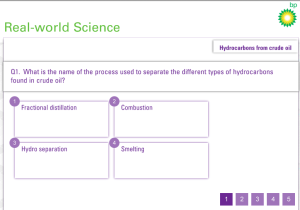 BP Education. Hydrocarbons from crude oil quiz