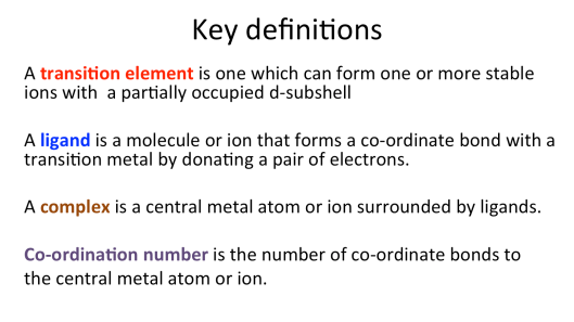 Introduction Transition Metals A2 Chemistry