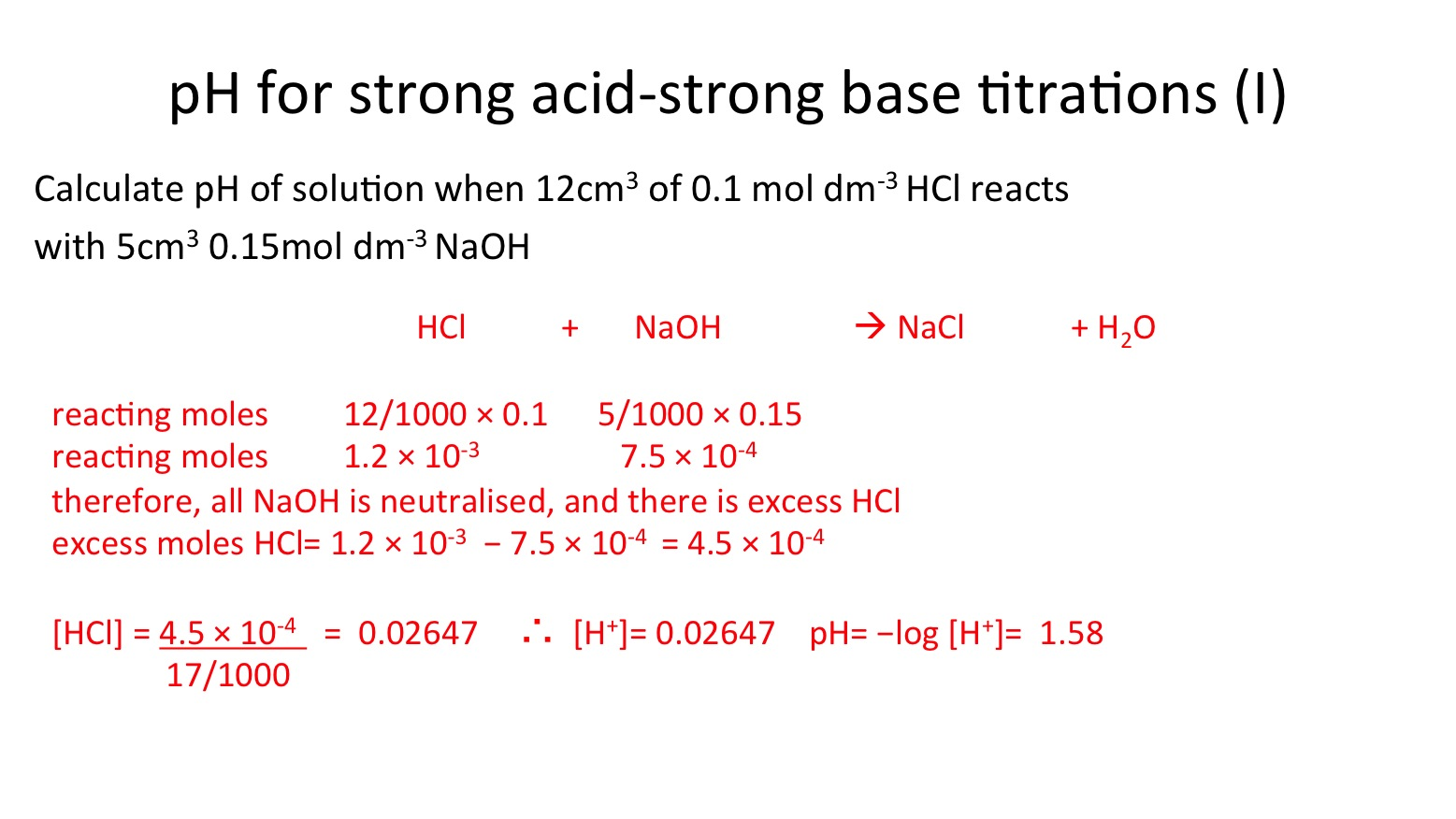 Ph For Strong Acid And Strong Base Titrations